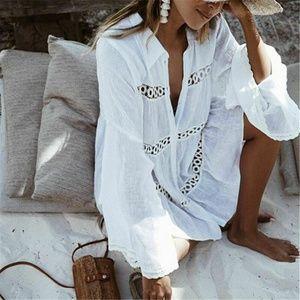 Bohemian White Cotton Button Up Tunic  Top Blouse
